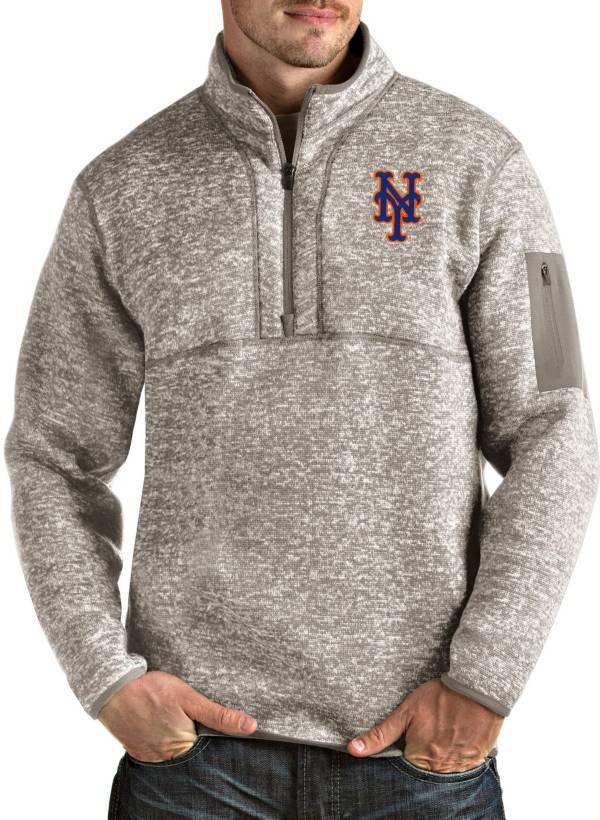 Antigua Men's New York Mets Oatmeal Fortune Half-Zip Pullover product image