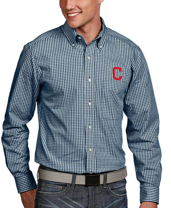 Antigua Men's Cleveland Indians Associate Button-Up Navy Long Sleeve Shirt product image