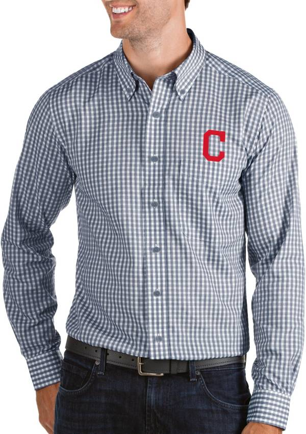 Antigua Men's Cleveland Indians Structure Navy Long Sleeve Button Down Shirt product image