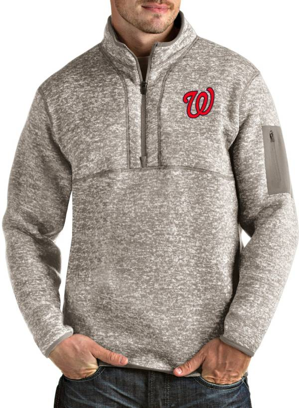 Antigua Men's Washington Nationals Oatmeal Fortune Half-Zip Pullover product image