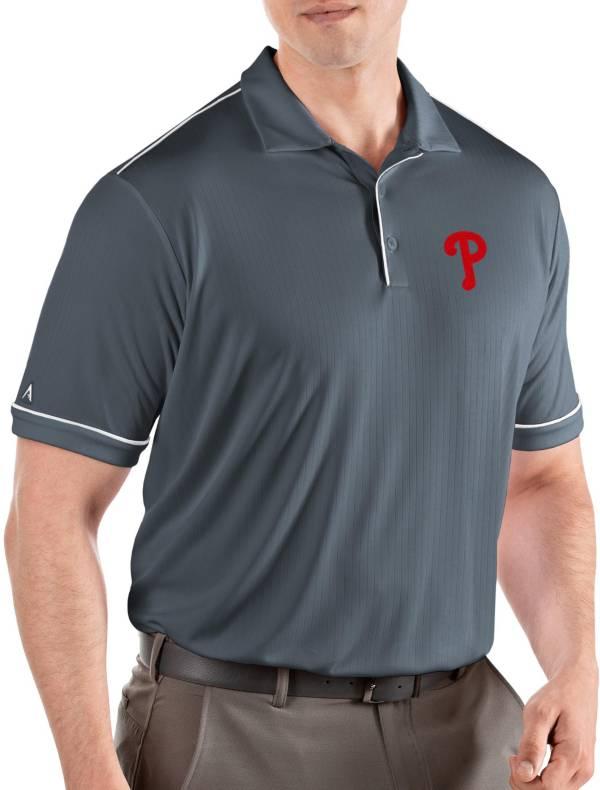 Antigua Men's Philadelphia Phillies Salute Grey Performance Polo product image