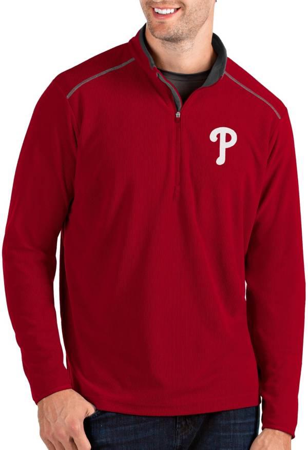 Antigua Men's Philadelphia Phillies Red Glacier Quarter-Zip Pullover product image