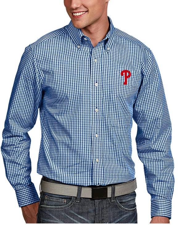 Antigua Men's Philadelphia Phillies Associate Royal Long Sleeve Button Down Shirt product image