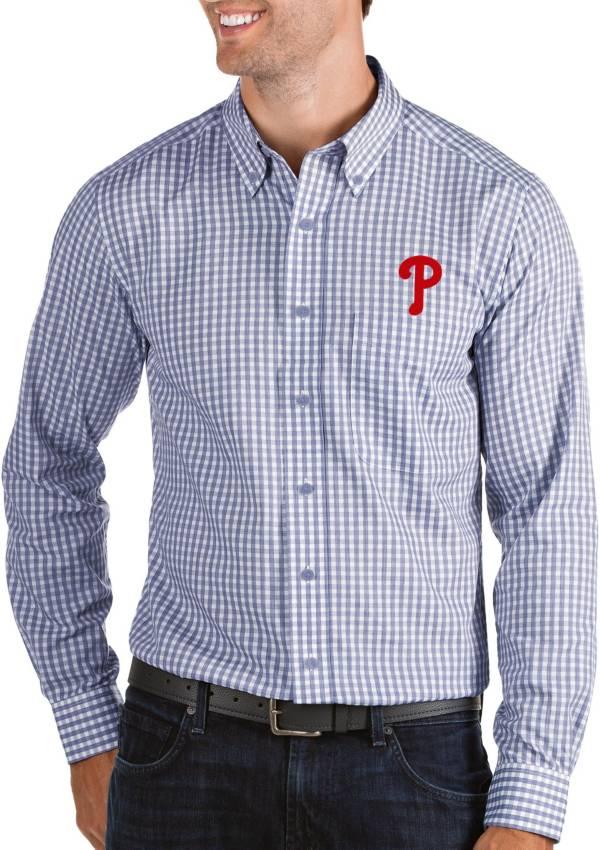 Antigua Men's Philadelphia Phillies Structure Button-Up Royal Long Sleeve Shirt product image