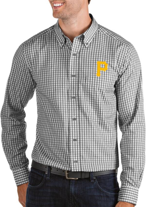 Antigua Men's Pittsburgh Pirates Structure Black Long Sleeve Button Down Shirt product image