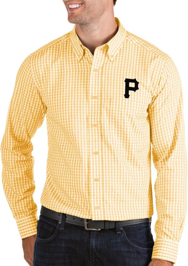 Antigua Men's Pittsburgh Pirates Structure Button-Up Gold Long Sleeve Shirt product image