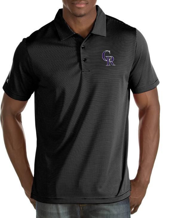 Antigua Men's Colorado Rockies Quest Black Performance Polo product image