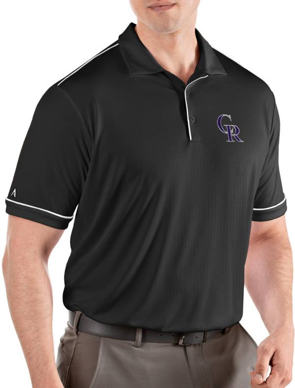 Antigua Men's Colorado Rockies Salute Black Performance Polo product image
