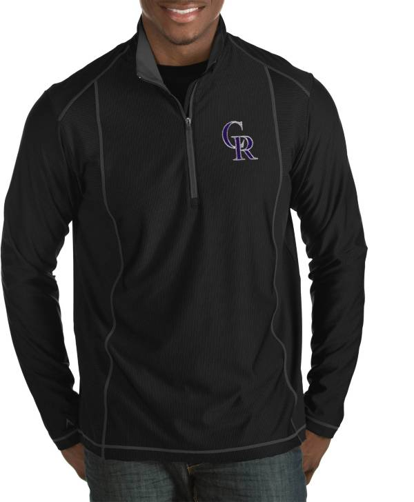 Antigua Men's Colorado Rockies Tempo Black Quarter-Zip Pullover product image