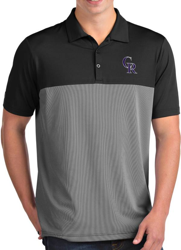 Antigua Men's Colorado Rockies Venture Black Performance Polo product image