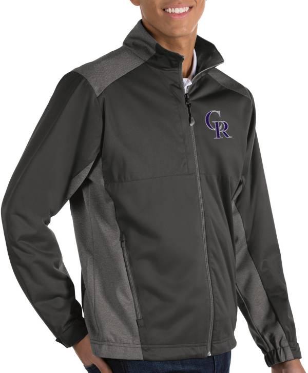 Antigua Men's Colorado Rockies Revolve Grey Full-Zip Jacket product image