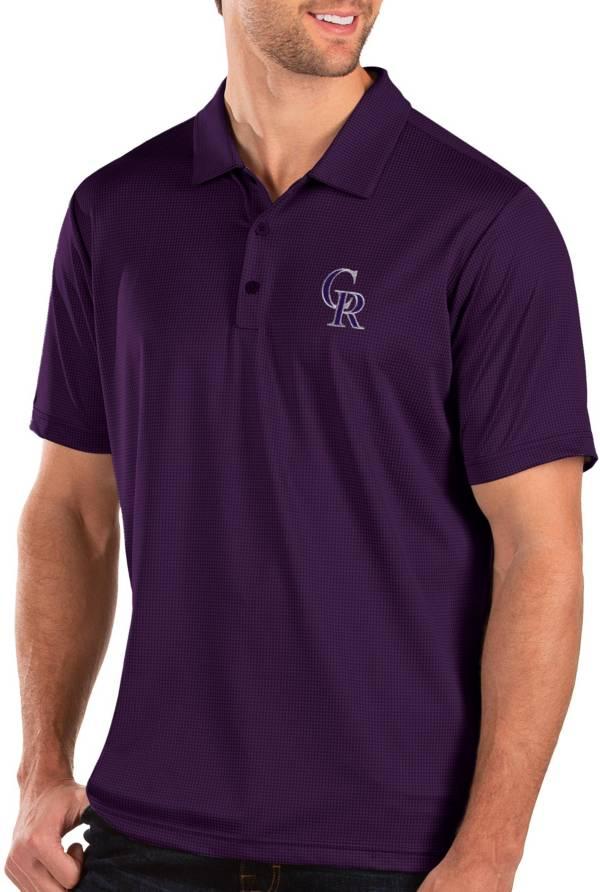 Antigua Men's Colorado Rockies Purple Balance Polo product image