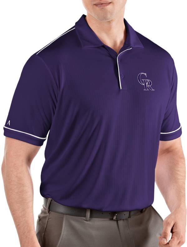 Antigua Men's Colorado Rockies Salute Purple Performance Polo product image