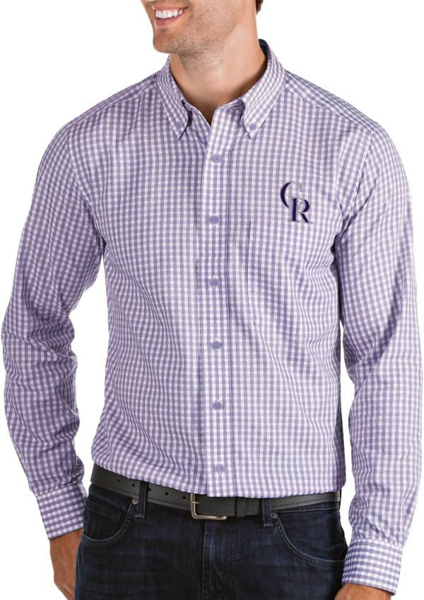 Antigua Men's Colorado Rockies Structure Button-Up Purple Long Sleeve Shirt product image