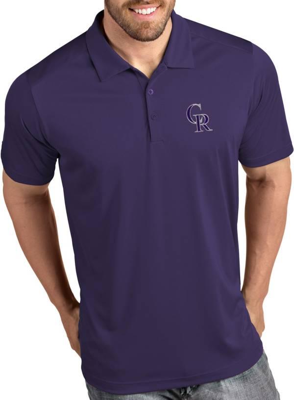 Antigua Men's Colorado Rockies Tribute Purple Performance  Polo product image