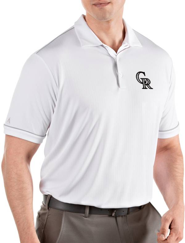 Antigua Men's Colorado Rockies Salute White Performance Polo product image