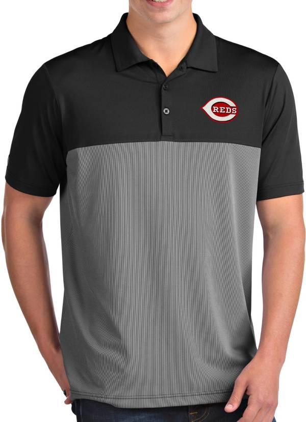 Antigua Men's Cincinnati Reds Venture Black Performance Polo product image