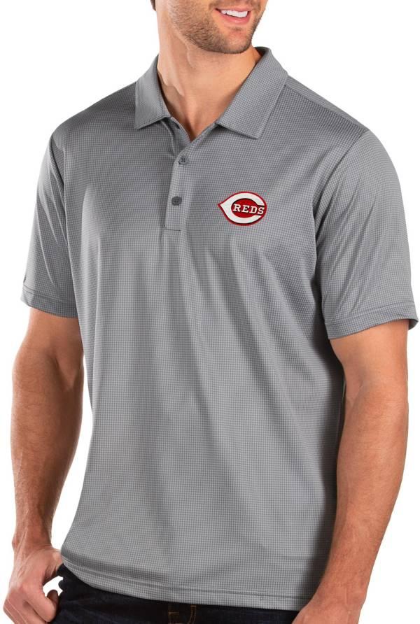Antigua Men's Cincinnati Reds Grey Balance Polo product image