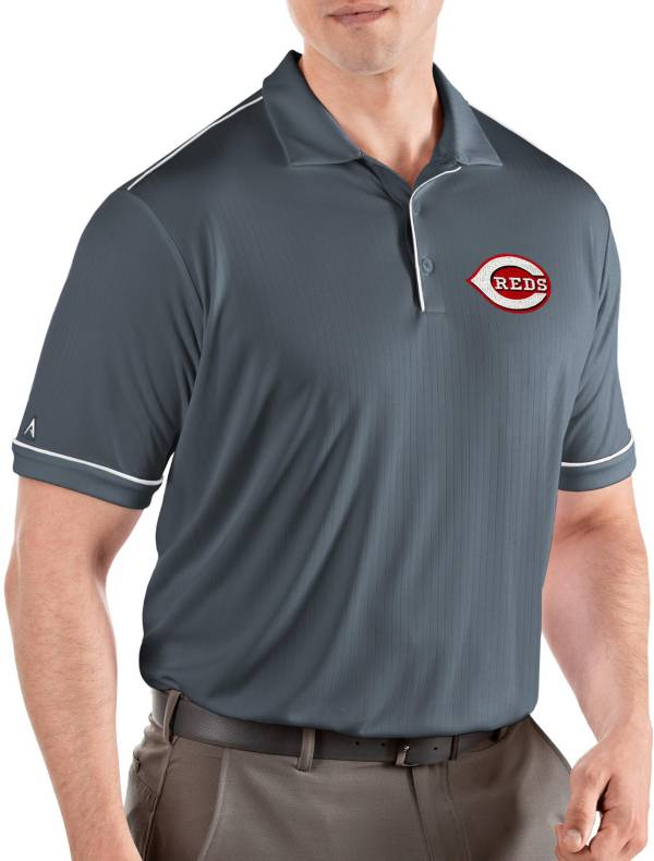 Antigua Men's Cincinnati Reds Salute Grey Performance Polo product image