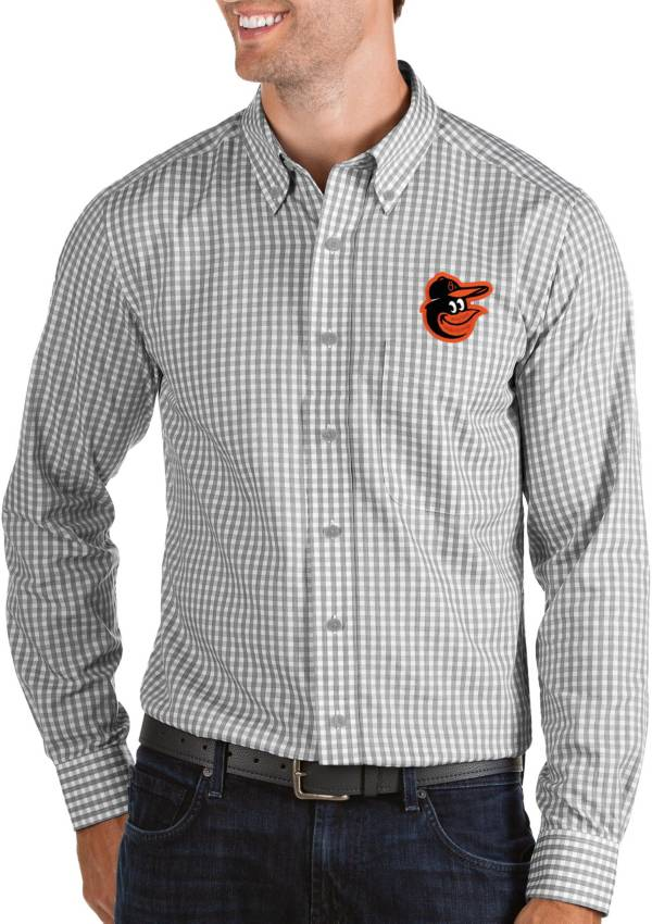 Antigua Men's Baltimore Orioles Structure Button-Up Grey Long Sleeve Shirt product image