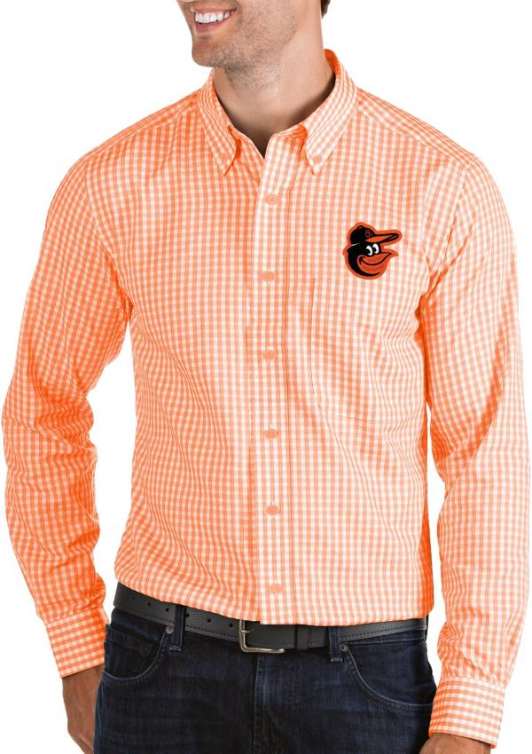 Antigua Men's Baltimore Orioles Structure Button-Up Orange Long Sleeve Shirt product image