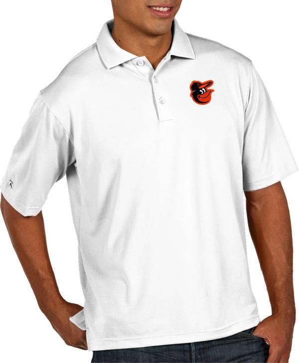 Antigua Men's Baltimore Orioles Pique White Performance Polo product image