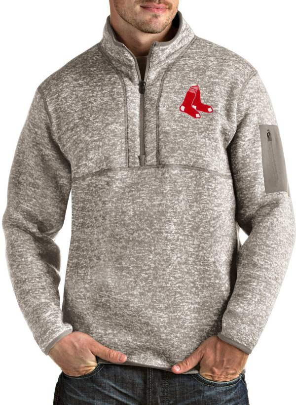 Antigua Men's Boston Red Sox Oatmeal Fortune Half-Zip Pullover product image