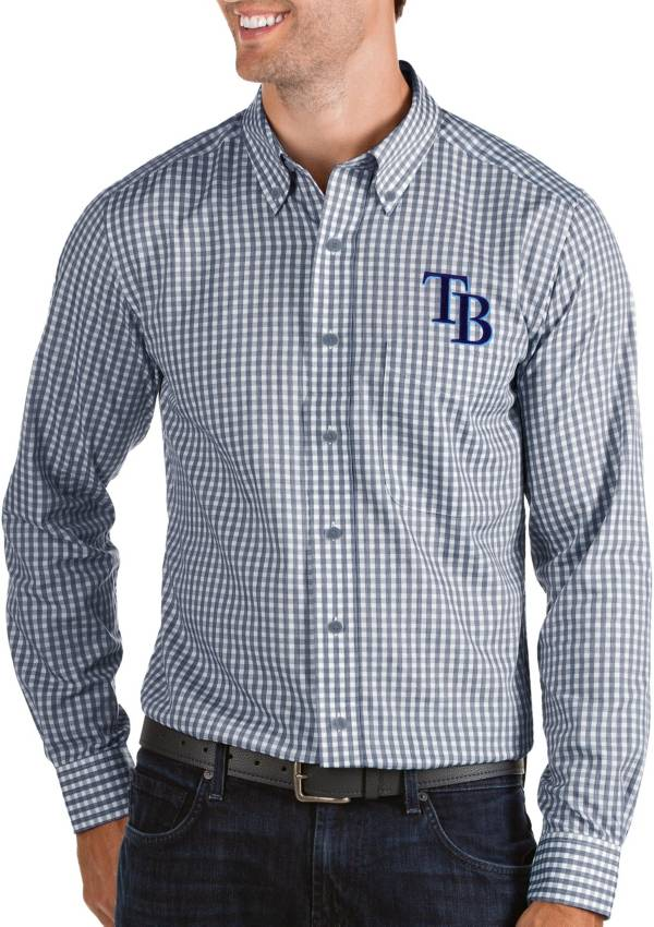 Antigua Men's Tampa Bay Rays Structure Navy Long Sleeve Button Down Shirt product image