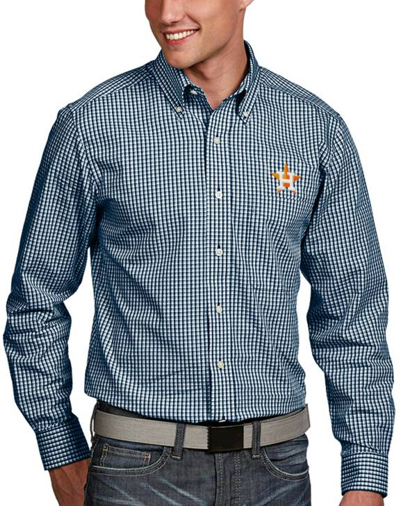 Antigua Men's Houston Astros Associate Button-Up Navy Long Sleeve Shirt product image