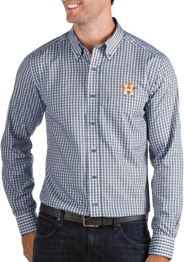 Antigua Men's Houston Astros Structure Button-Up Navy Long Sleeve Shirt product image