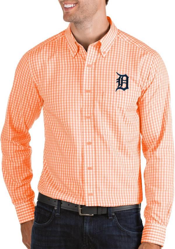 Antigua Men's Detroit Tigers Structure Orange Long Sleeve Button Down Shirt product image