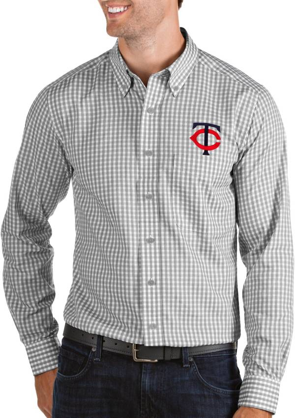 Antigua Men's Minnesota Twins Structure Button-Up Grey Long Sleeve Shirt product image