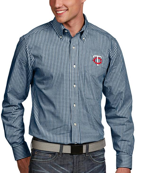 Antigua Men's Minnesota Twins Associate Button-Up Navy Long Sleeve Shirt product image