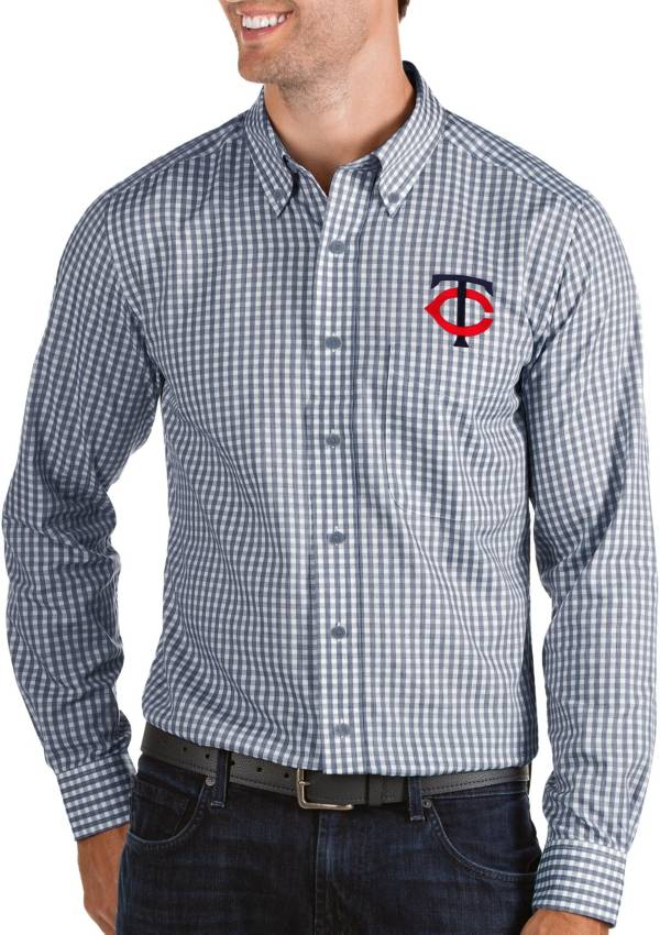 Antigua Men's Minnesota Twins Structure Button-Up Navy Long Sleeve Shirt product image