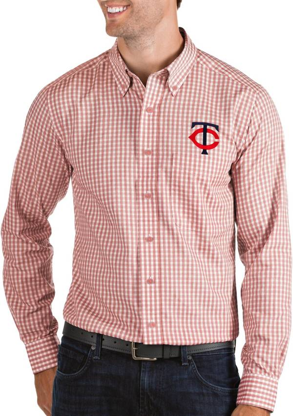 Antigua Men's Minnesota Twins Structure Button-Up Red Long Sleeve Shirt product image