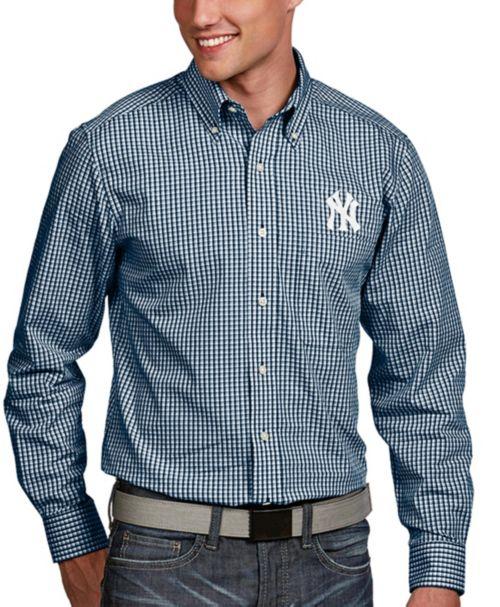 365789a6 Antigua Men's New York Yankees Associate Button-Up Navy Long Sleeve Shirt.  noImageFound. 1