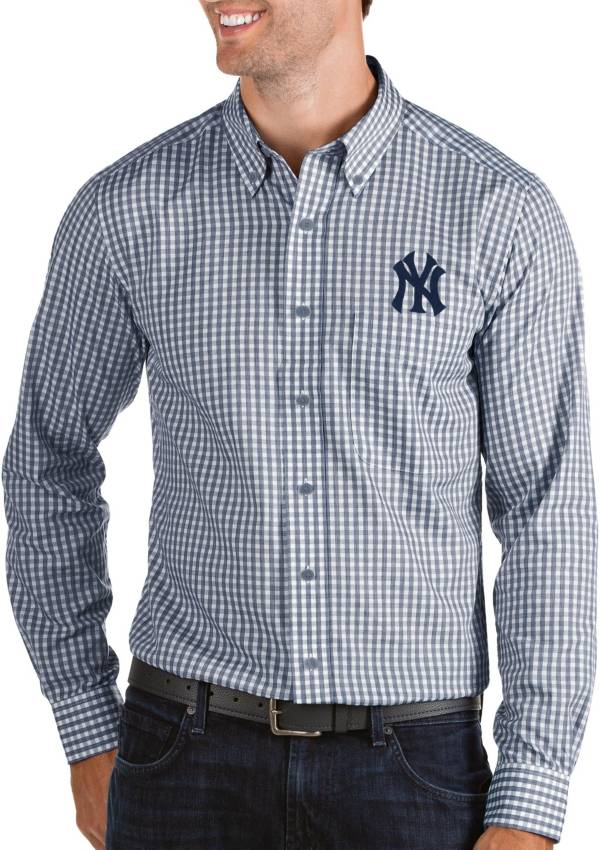 Antigua Men's New York Yankees Structure Navy Long Sleeve Button Down Shirt product image