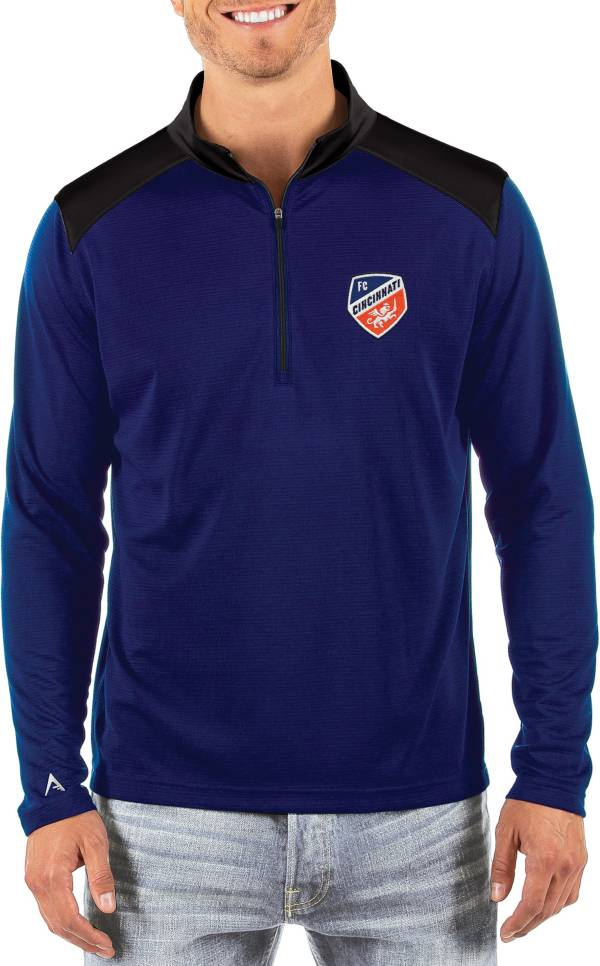 Antigua Men's FC Cincinnati Velocity Royal Quarter-Zip Pullover product image