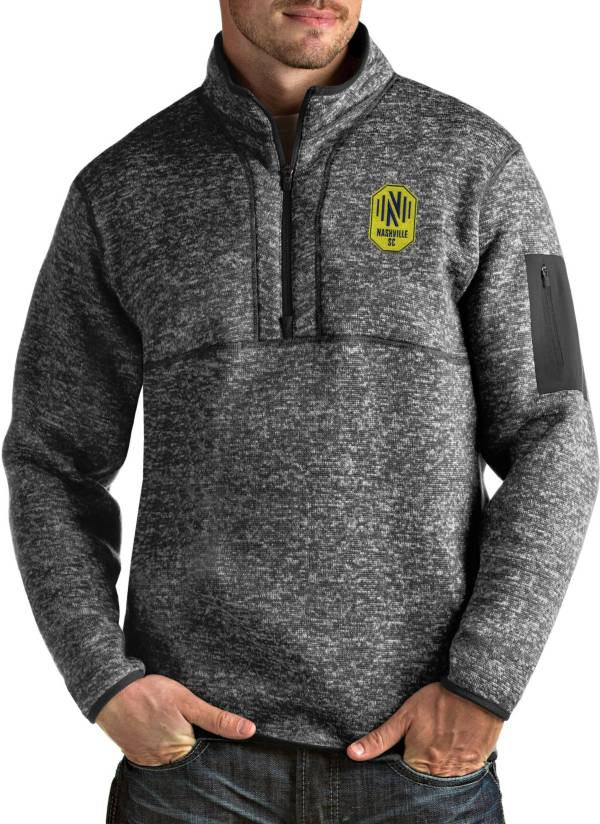 Antigua Men's Nashville SC Fortune Grey Quarter-Zip Pullover product image