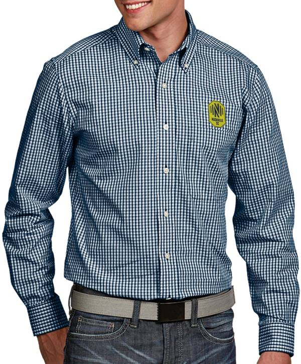Antigua Men's Nashville SC Associate Navy Button Down Long Sleeve Shirt product image
