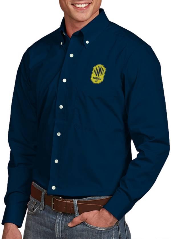 Antigua Men's Nashville SC Dynasty Navy Button Down Long Sleeve Shirt product image