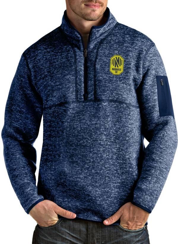 Antigua Men's Nashville SC Fortune Navy Quarter-Zip Pullover product image