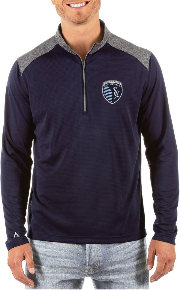 Antigua Men's Sporting Kansas City Velocity Navy Quarter-Zip Pullover product image