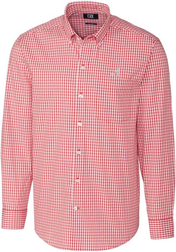 Cutter & Buck Men's Alabama Crimson Tide Crimson Stretch Gingham Long Sleeve Button Down Shirt product image