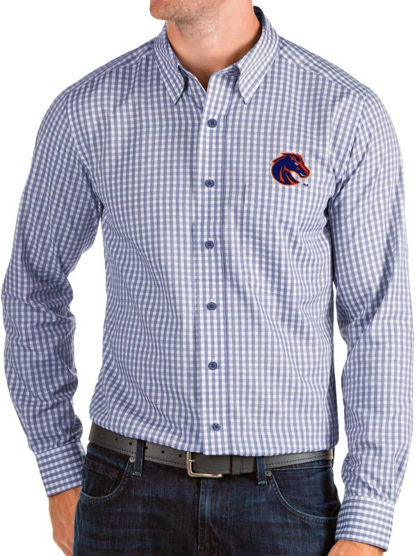 Antigua Men's Boise State Broncos Blue Structure Button Down Long Sleeve Shirt product image