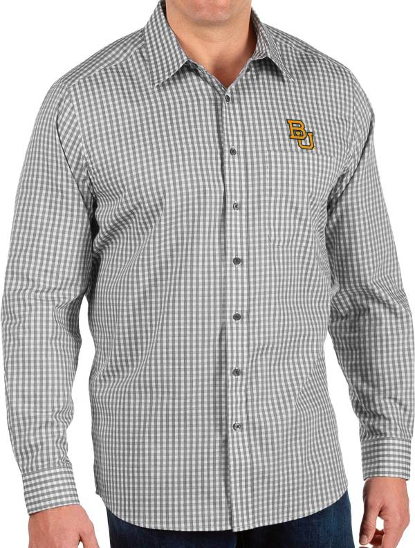 Antigua Men's Baylor Bears Structure Button Down Long Sleeve Black Shirt product image