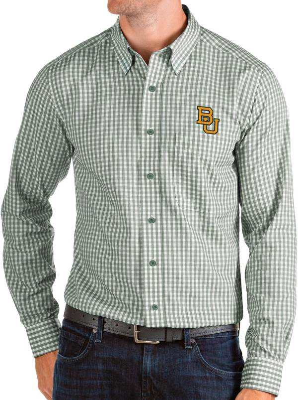 Antigua Men's Baylor Bears Green Structure Button Down Long Sleeve Shirt product image