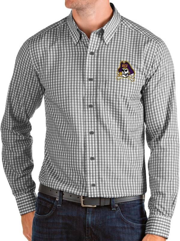Antigua Men's East Carolina Pirates Structure Button Down Long Sleeve Black Shirt product image