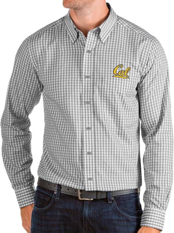 Antigua Men's Cal Golden Bears Grey Structure Button Down Long Sleeve Shirt product image