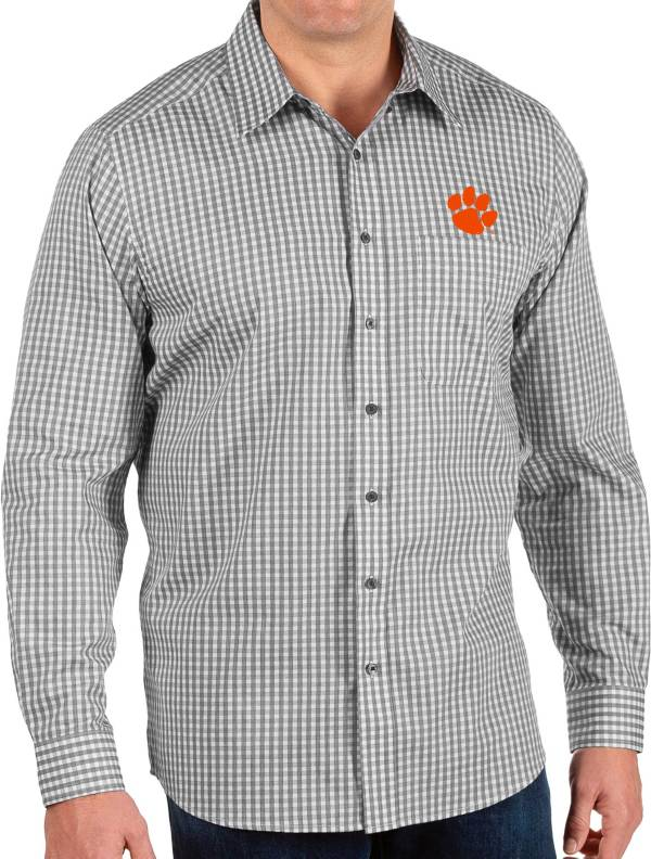 Antigua Men's Clemson Tigers Structure Button Down Long Sleeve Black Shirt product image